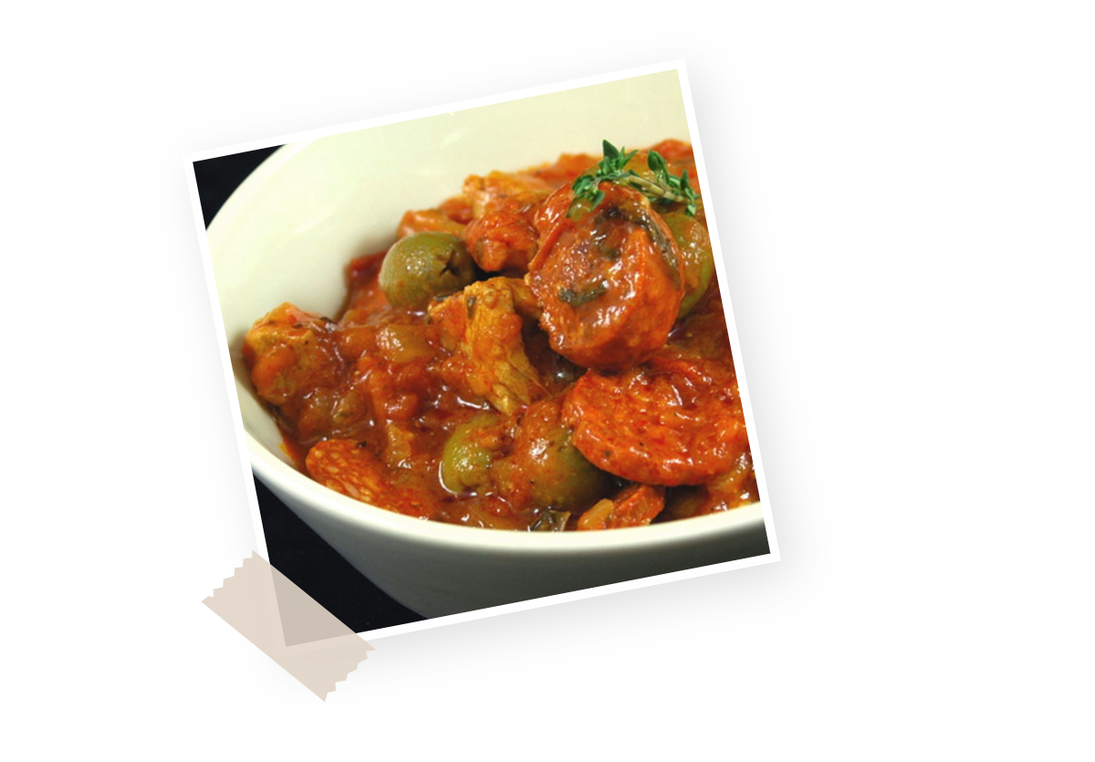 Recette sauté de veau au chorizo et aux olives Menguy's